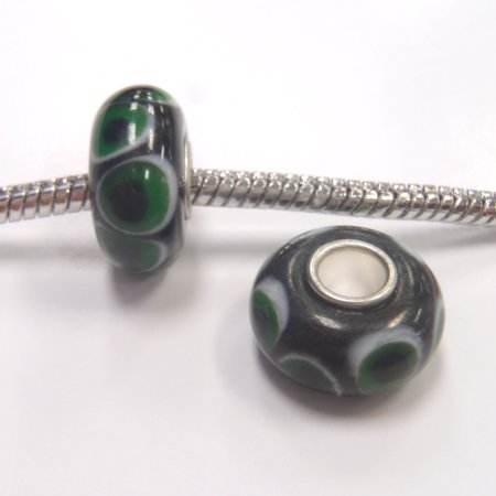 3 Eyed Dzi Bead (3 Beads - Green Dot Evil Eye Lampwork Glass Silver European Bead Charm E1008 )