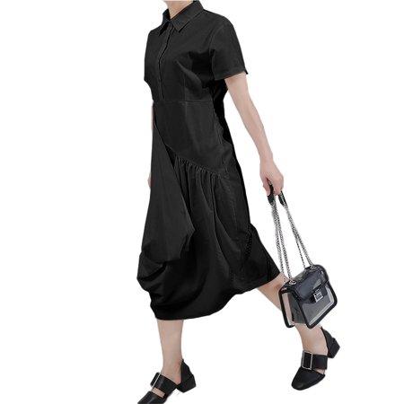 VONDA Women's Solid Cotton Dress Casual Lapel Short Sleeve Shirtdress - image 5 de 8