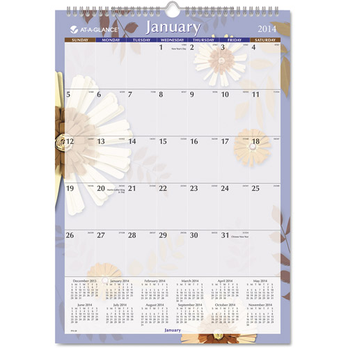 "AT-A-GLANCE Paper Flowers Monthly Wall Calendar, 12"" X 17"", 2016"