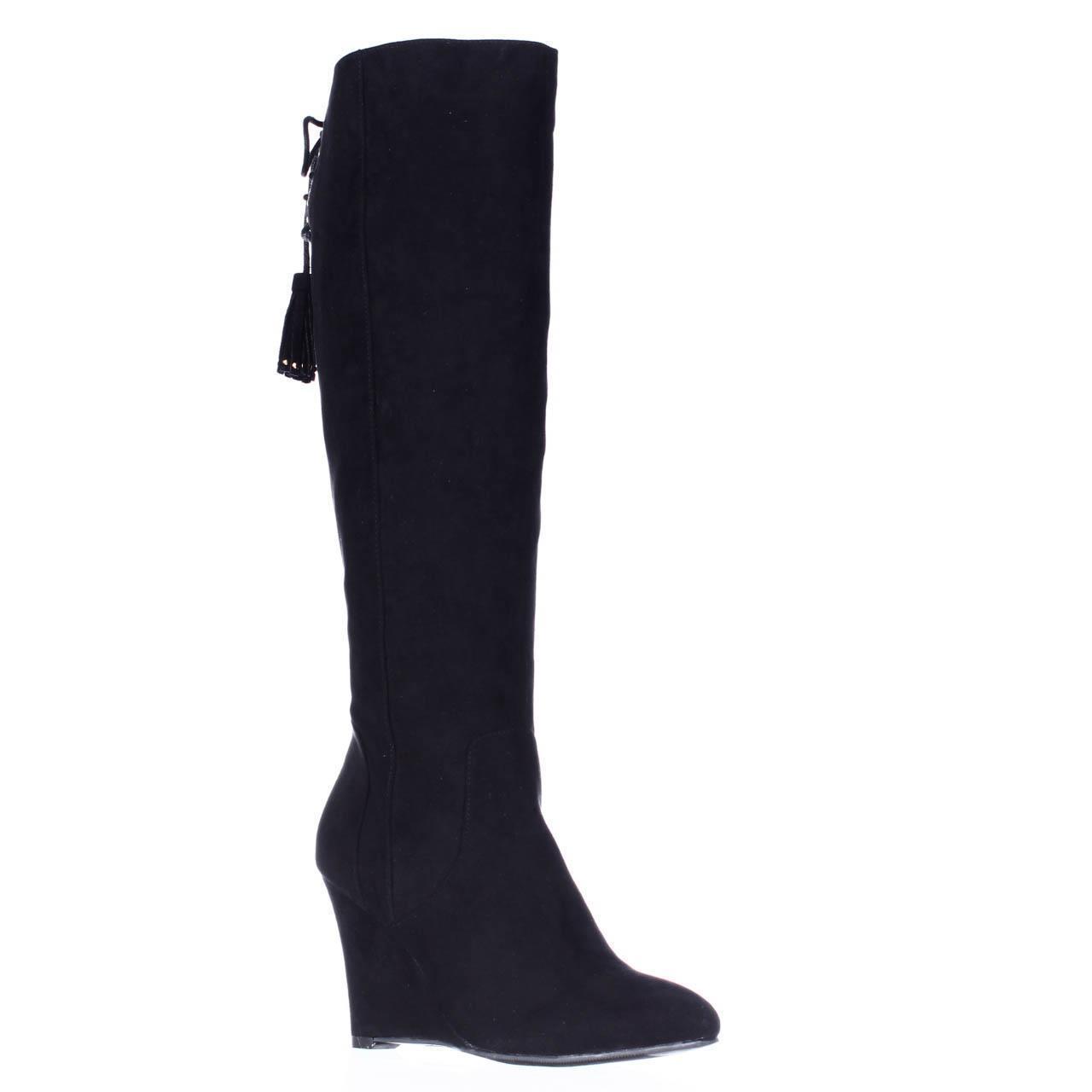 Womens TS35 Adallia Tall Wedge Tassel Tie Fasion Boots, Black