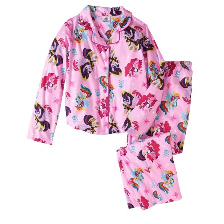 My Little Pony Girls' Button Down Top and Bottom Pajama 2-Piece Set