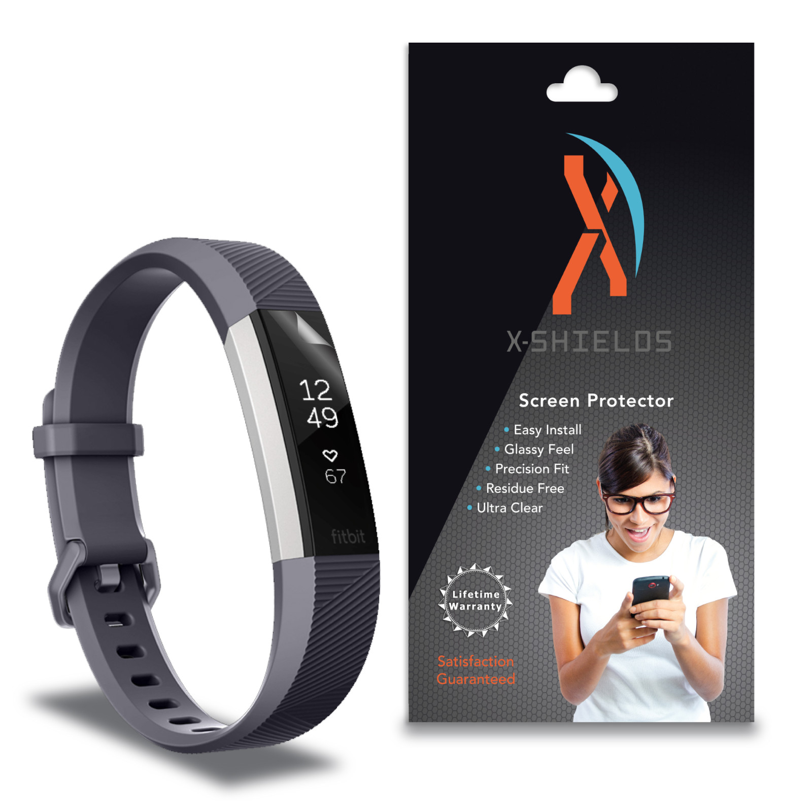 XShields© High Definition (HD+) Screen Protectors for FitBit Alta HR (Maximum Clarity) Super Easy Installation [5-Pack] Lifetime Warranty, Advanced Touchscreen Accuracy
