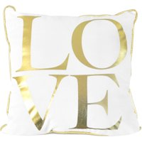"Mainstays Gold Foil 18"" x 18"" Decorative Love Pillow"
