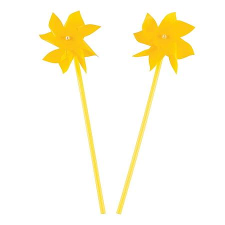 Fun Express - Yellow Pinwheels (3dz) for Wedding - Toys - Value Toys - Pinwheels - Wedding - 36 Pieces - Pinwheel Toy