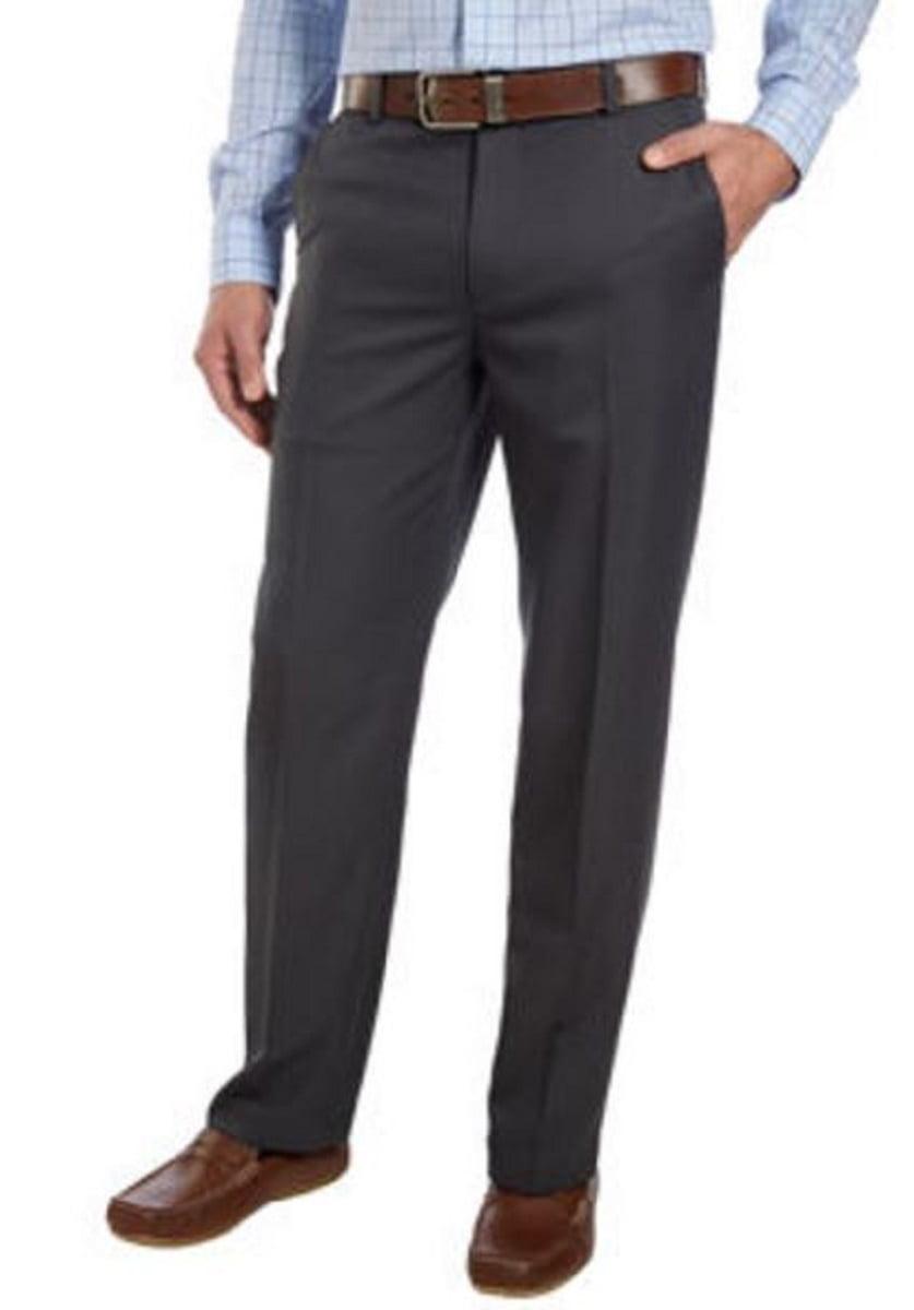 IZOD Mens Flat Front Straight Fit Dress Pant (36W X 34L, Black)