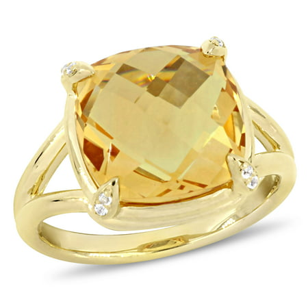 7 Carat T.G.W. Citrine and White Topaz Yellow-Plated Sterling Silver Cocktail - Citrine Diamond Cocktail Ring