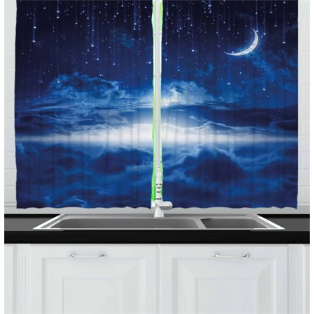 Night Curtains 2 Panels Set, Heavenly Majestic Galaxy View Falling Stars Celestial Magical Cosmos, Window Drapes for Living Room Bedroom, 55W X 39L Inches, Navy Blue White Indigo, by Ambesonne