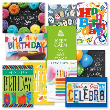 "Big Words Birthday Cards Value Pack - Set of 20 (2 of each design) 5"" x 7"" birthday greeting cards come with white envelopes"