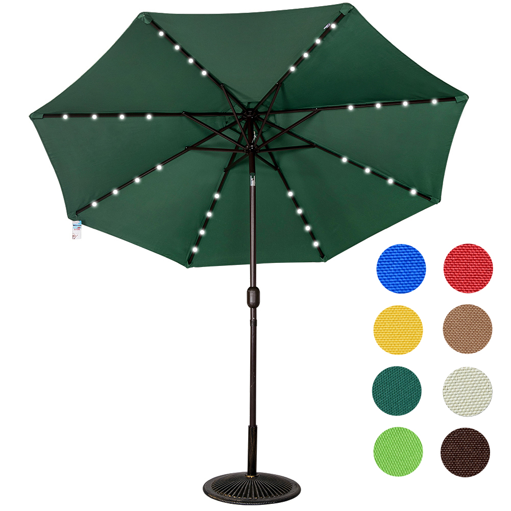 Sundale Outdoor Solar Powered 32 LED Lighted Outdoor Patio Umbrella With  Crank And Tilt, 9