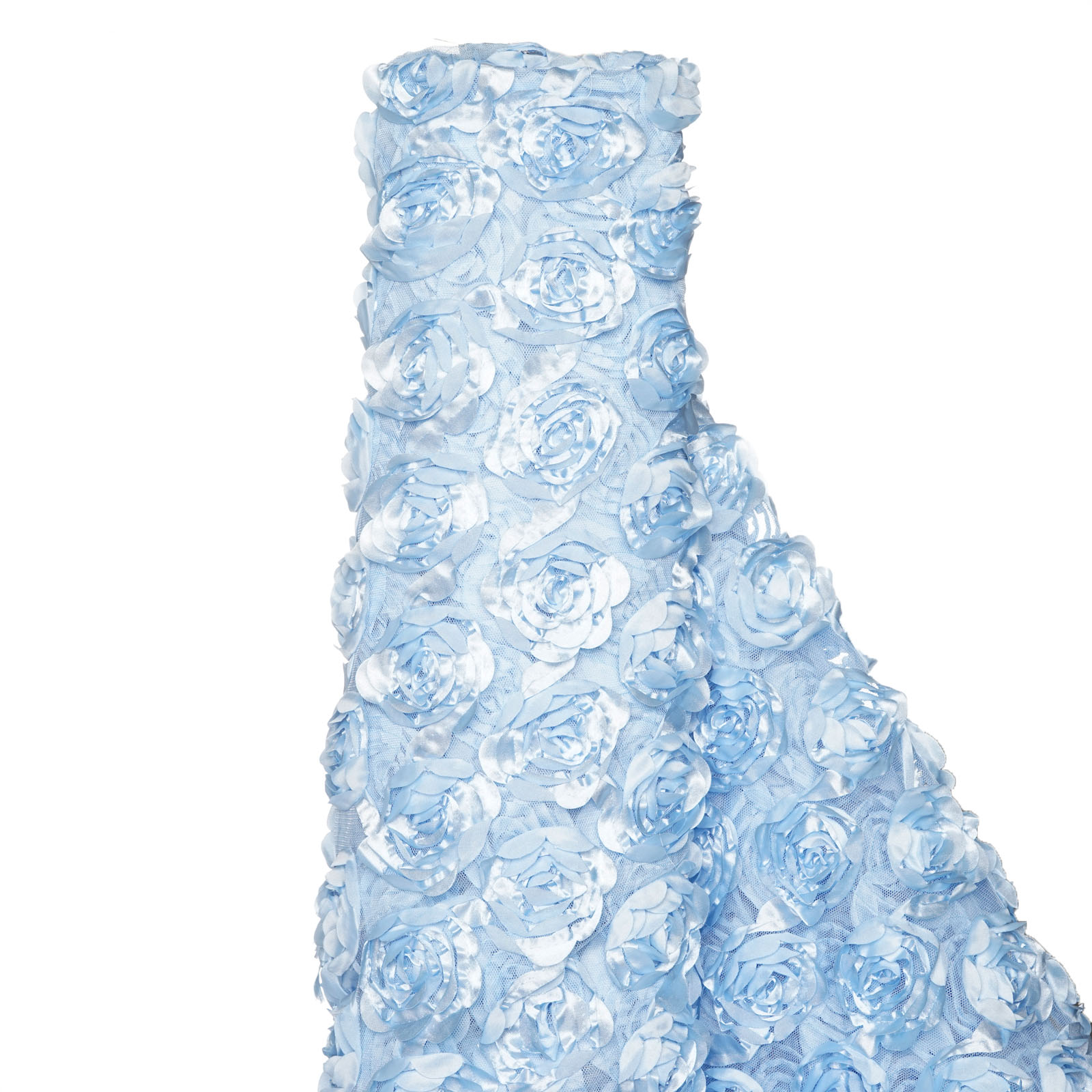"BalsaCircle 54"" x 4 yards Satin Ribbon Roses on Lace Fabric Bolt Put-up - Sewing Crafts Draping Decorations Supplies"