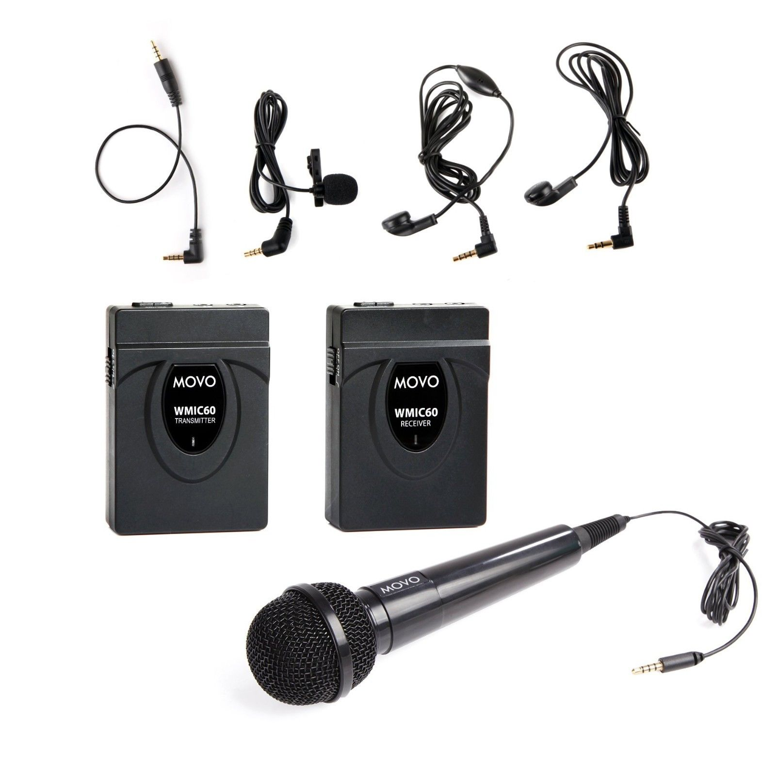 Movo WMIC60 2.4GHz Wireless Lavalier and Handheld Microphone System with Integrated... by