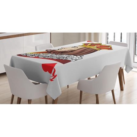 Casino Tablecloth, King of Heart Deck Romantic Graphic Play Card Design Gambling Good Luck Chance Theme, Rectangular Table Cover for Dining Room Kitchen, 52 X 70 Inches, Multicolor, by Ambesonne for $<!---->