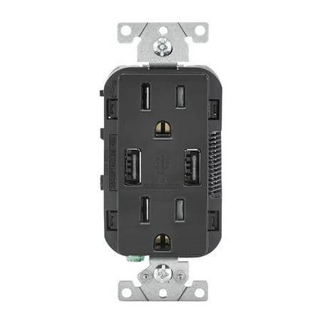 Leviton 15-Amp USB Charger/Tamper Resistant Duplex Receptacle Wall Mounted (Leviton Duplex Socket)