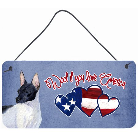 Woof if you love America Rat Terrier Wall or Door Hanging Prints SS4992DS612