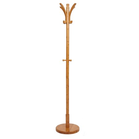 "KARMAS PRODUCT Natural Bamboo Standing Coat Rack 67"" 11 Hooks Entryway Hall Hat Jacket Stand Coat Tree with Round Base for Living Room Bedroom Office - Chinese Bamboo Hat"