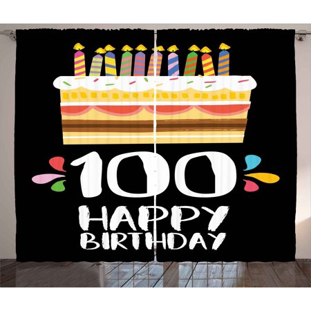100th Birthday Curtains 2 Panels Set Old Legacy 100 Party Cake Candles On Black