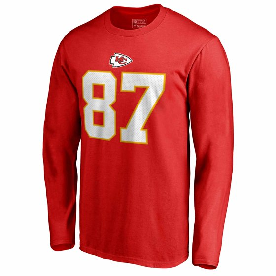 brand new 7ba40 c238d Travis Kelce Kansas City Chiefs NFL Pro Line by Fanatics Branded Authentic  Stack Name & Number Long Sleeve T-Shirt - Red