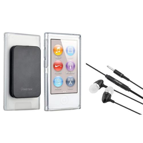 Insten Clear TPU Rubber Soft Case w/Belt Clip+Headset Headphone For Apple iPod Nano 7 7th Gen