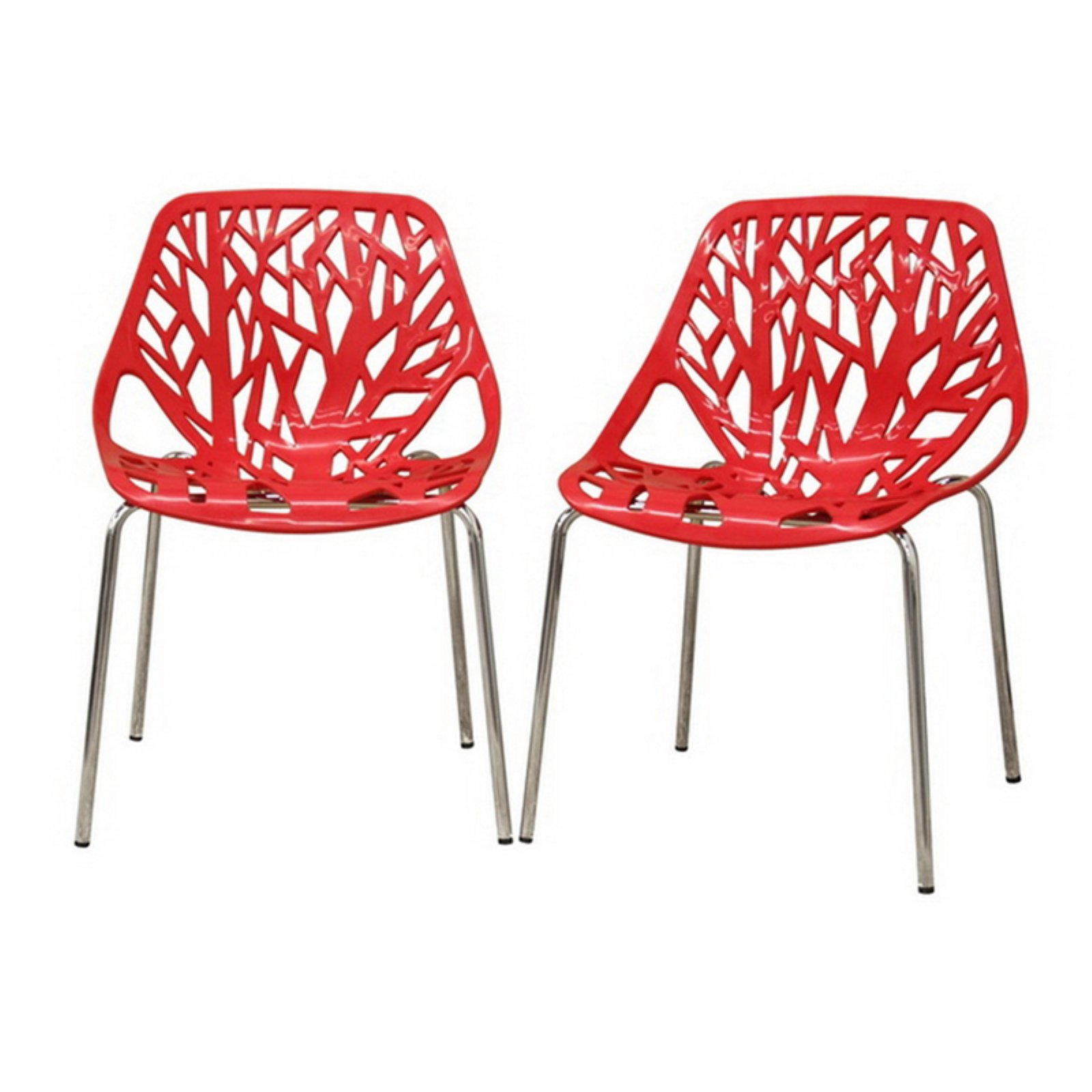 Baxton Studio Birch Sapling Accent / Dining Chair, Red
