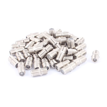 50Pcs F Type Female to Female Straight RF Coax TV Adapter Connectors Silver Tone