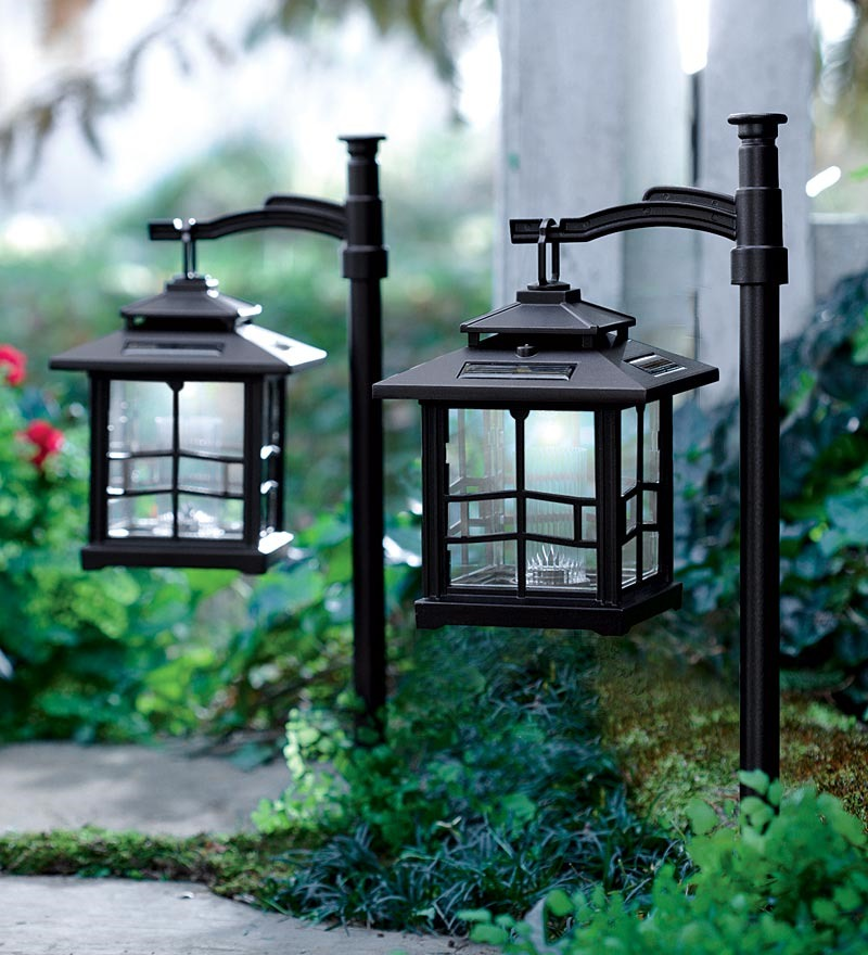 Plow & Hearth LED Solar Lantern w/Shepherd's Hook Set of ...