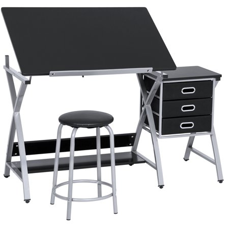 Best Choice Products Adjustable Office Drawing Board Desk Station Drafting Table Set w/ Stool Chair for Arts and Crafts, Drawing, Painting, Doodling - Silver/Black ()