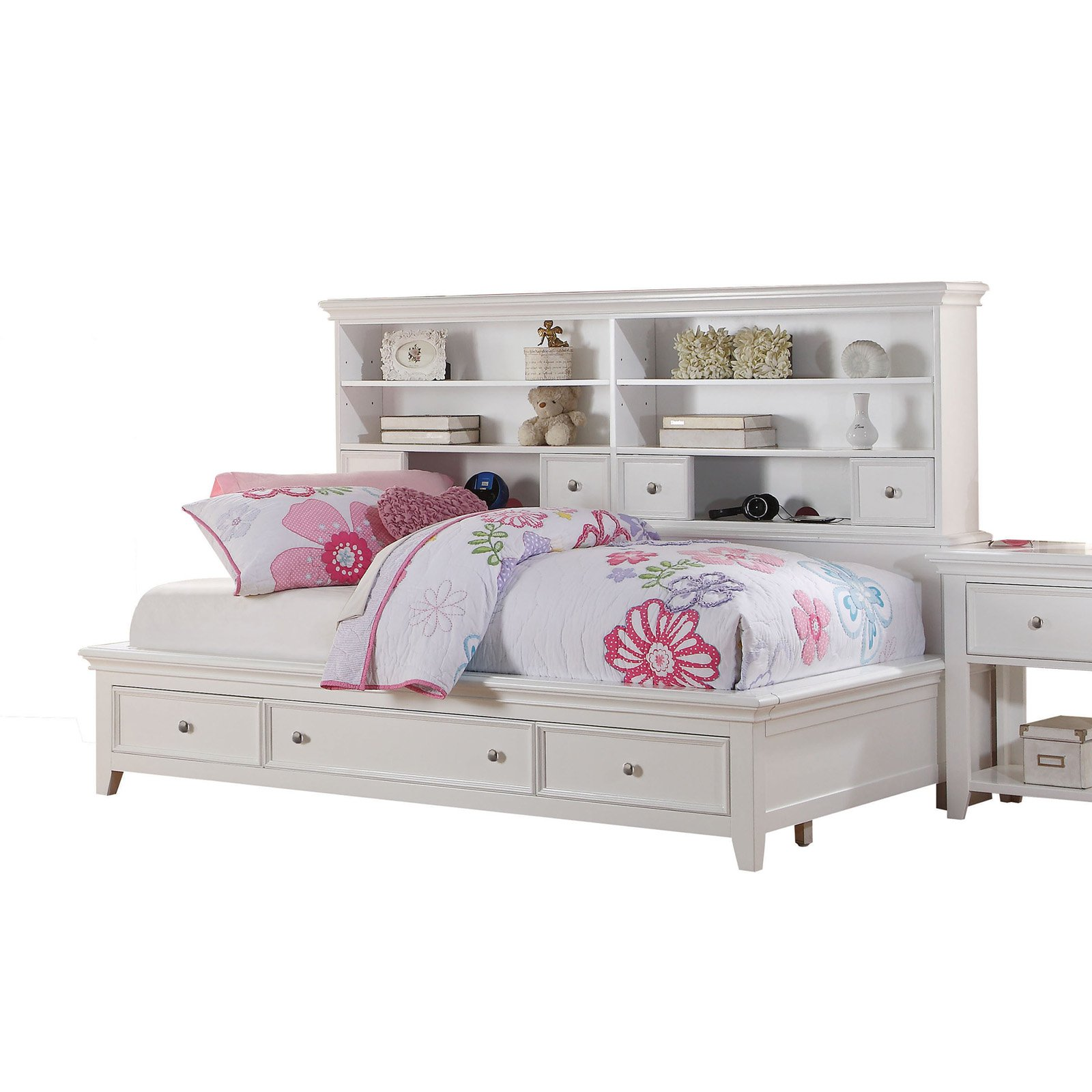 ACME Lacey Full Daybed with Storage in White Pine Wood, Multiple Sizes