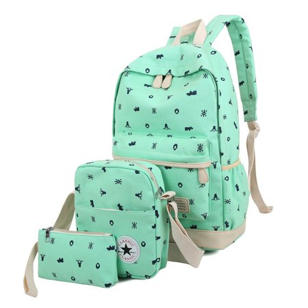 437b53bb5f47 3 Pcs School Bags Middle School Student Print Backpack Set for Girls and  Boys Canvas Backpacks includ backpack pencil case casual bag(Mint Green)