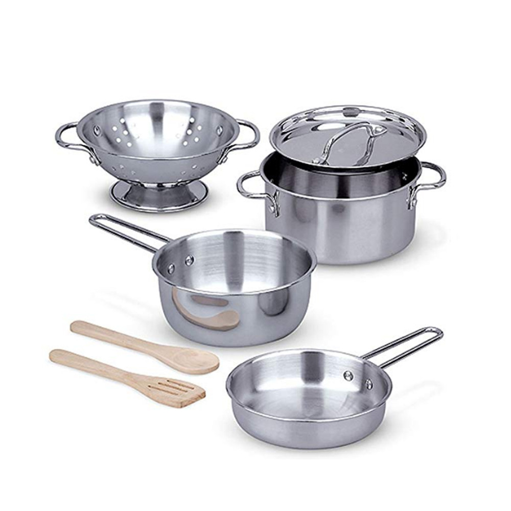 7Pcs Stainless Steel Pots Pans Cookware Miniature Toy Pretend Play Gift For  Kid