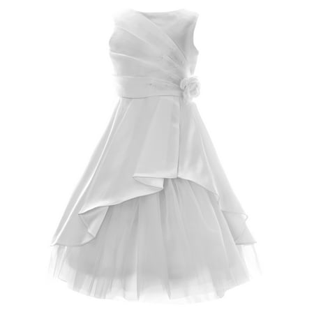 Girls' 7-16 Embellished Asymetrical Communion Dress - First Communion Dress