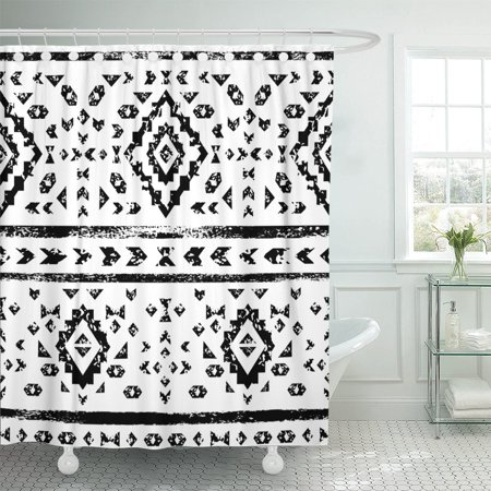 PKNMT Geo Black And White Aged Geometric Aztec Pattern Border Shower Curtain 60x72 Inches