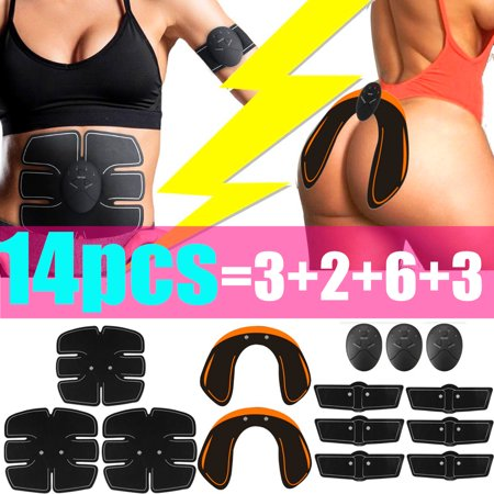 14Pcs/Set ABS Stimulator, EMS Buttocks Lifter Abdominal Muscle Trainer Smart Full Body Building Fitness For Hip/Abdomen/Arm/Leg Training Home Exercise - Type