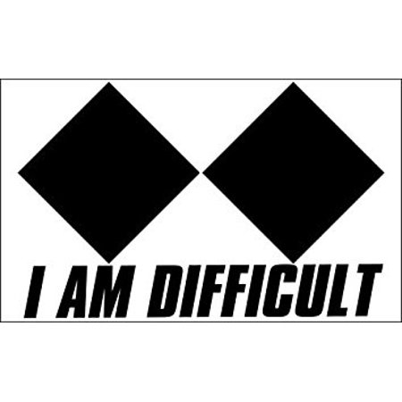 - I AM DIFFICULT Double Diamond Sticker Decal (snow ski snowboard decal) Size: 3 x 5 inch