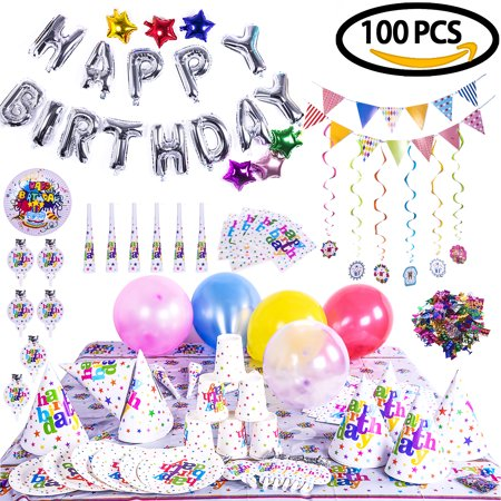100PCs/Pack Birthday Party Decorations Set with Happy Birthday Banner, a dozen of Birthday Hats,Birthday Balloons Reused Birthday Party Supplies for Kids F-144