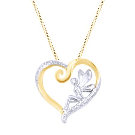 Natural Diamond Fairy in Heart Pendant Necklace in 14K Yellow Gold Over Sterling (Artist Fairy Necklace)