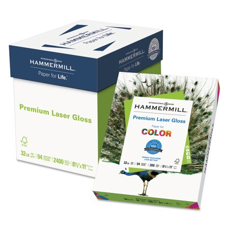 Hammermill Premium Laser Gloss Paper, 94 Bright, 32lb, 8-1/2 x 11, White, 300 Sheets/Pack -HAM163110
