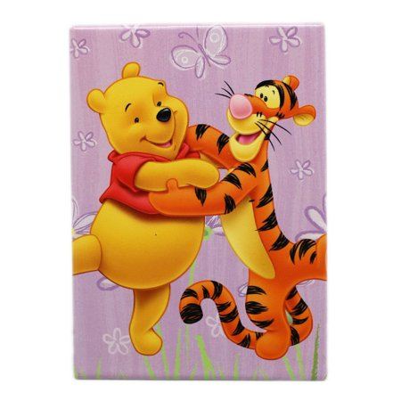 Disney's Winnie the Pooh and Tigger Lavender Floral Background Rectangle Magnet