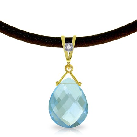 ALARRI 6.51 Carat 14K Solid Gold Attraction Blue Topaz Diamond Necklace with 20 Inch Chain Length.