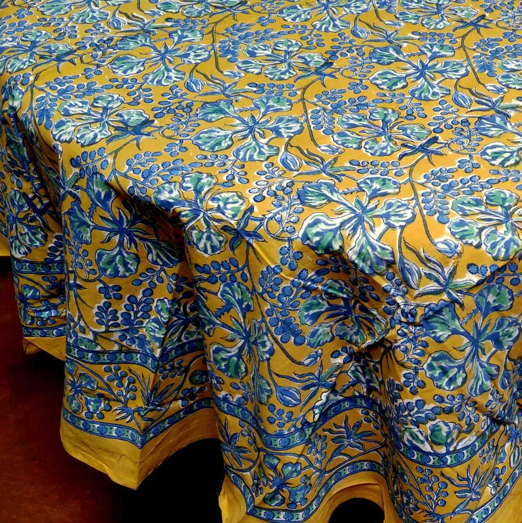 Floral Berry Block Print Cotton Round Tablecloth Brown Linen