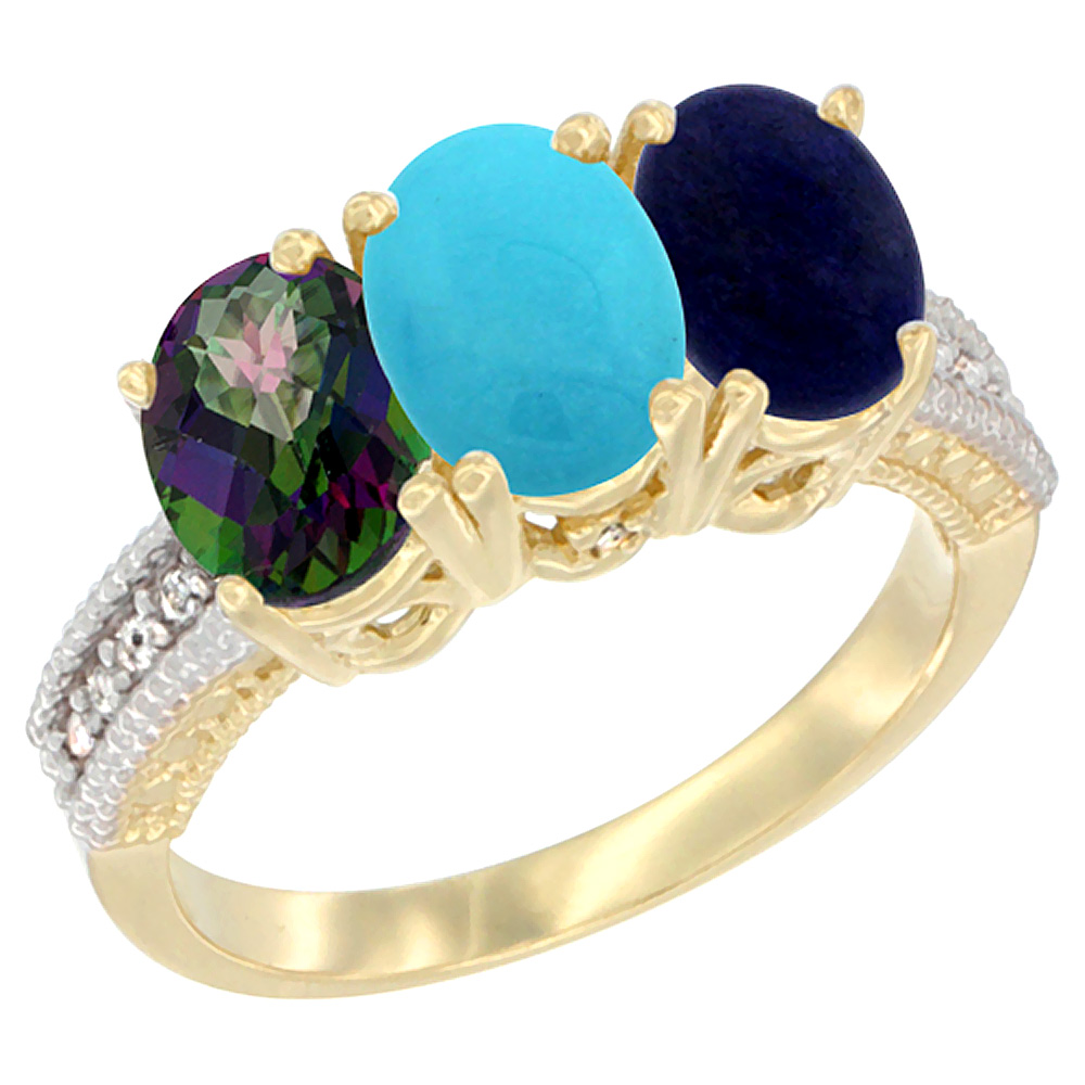 10K Yellow Gold Diamond Natural Mystic Topaz, Turquoise & Lapis Ring 3-Stone 7x5 mm Oval, sizes 5 10 by WorldJewels