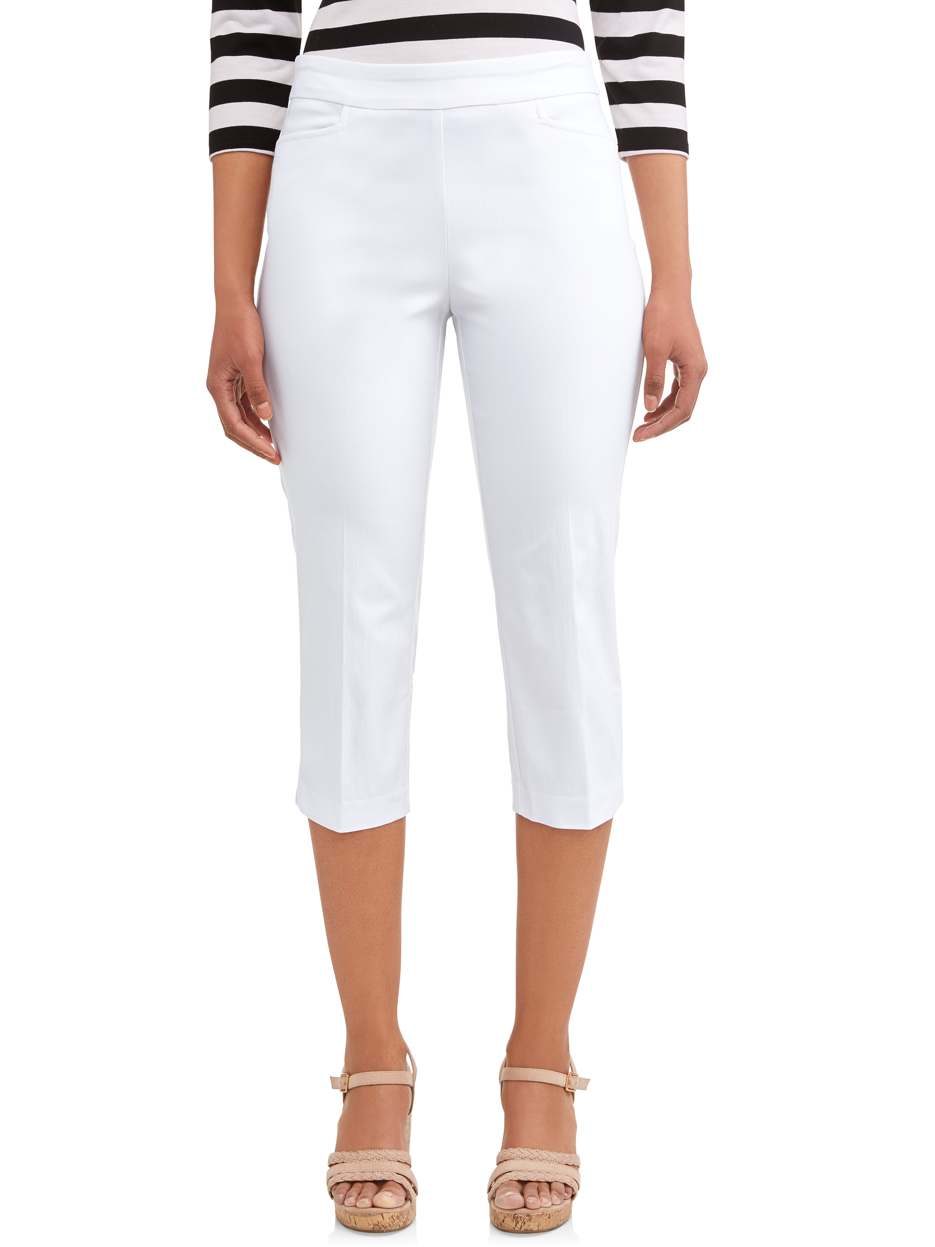 New Women/'s Time and Tru Millennium Pull-on Capri Pants Mid-Rise Stretch