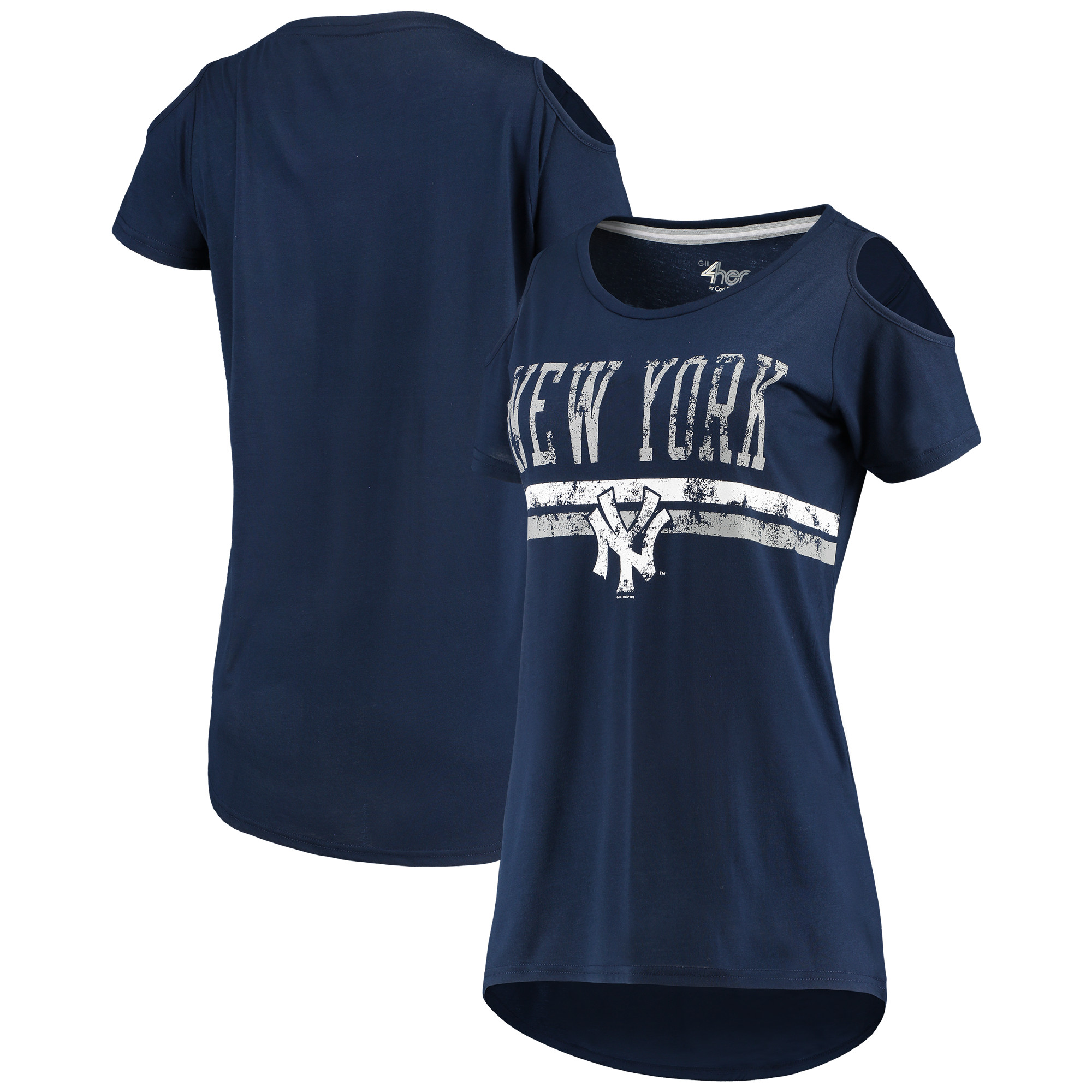 New York Yankees G-III 4Her by Carl Banks Women's Clear The Base Cold Shoulder Scoopneck T-Shirt Navy by G-III LEATHER FASHIONS INC
