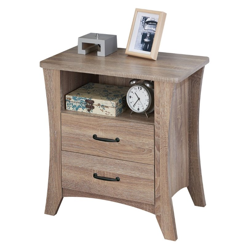 Bowery Hill 2 Drawer Nightstand in Rustic Natural