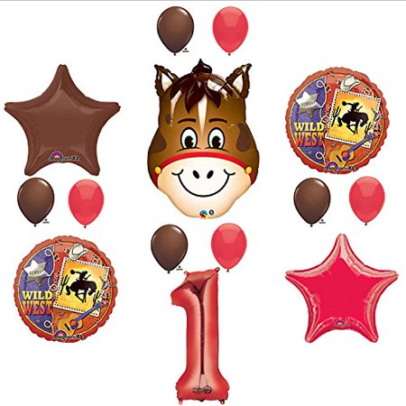 Wild West Cowboy Western 1st Birthday Party Supplies and Balloon Decorations - Cowboy Birthday Party Supplies