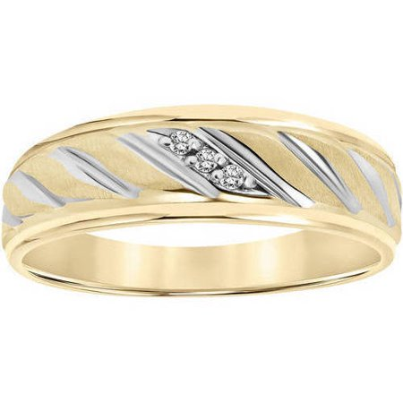 - Keepsake Diamond Accent Rope Design 10kt Yellow Gold Wedding Band