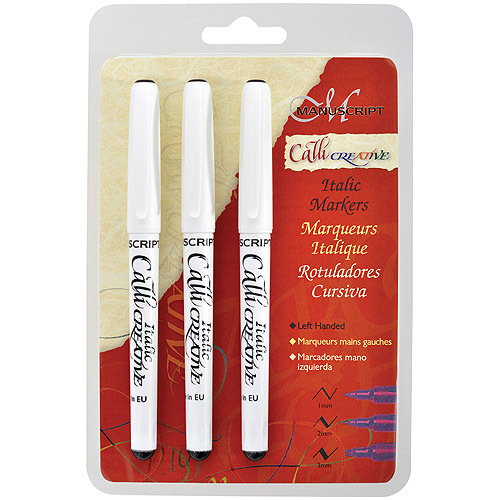 Manuscript CalliCreative Left-Handed Markers 3/Pkg-Black