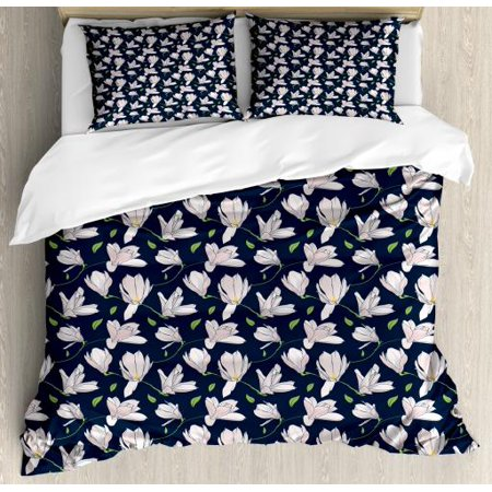 Magnolia Queen Size Duvet Cover Set, Japanese Sakura on Blue Shade Background Spring Season Pattern, Decorative 3 Piece Bedding Set with 2 Pillow Shams, Baby Pink Dark Blue and Green, by Ambesonne ()
