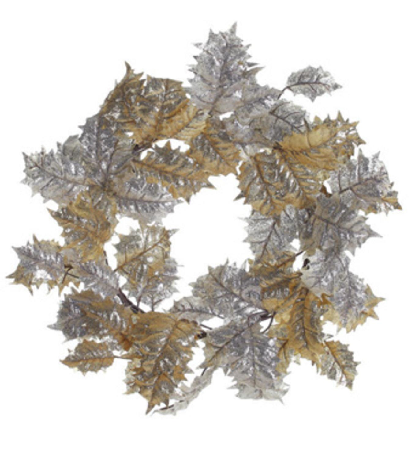 "Napco 24"" Unlit Gold/Silver Glittered Holly Leaf Artificial Christmas Wreath"
