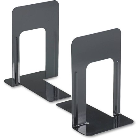 (3 Pack) Universal Economy Bookends, Nonskid, 5 7/8 x 8 1/4 x 9, Heavy Gauge Steel, Black