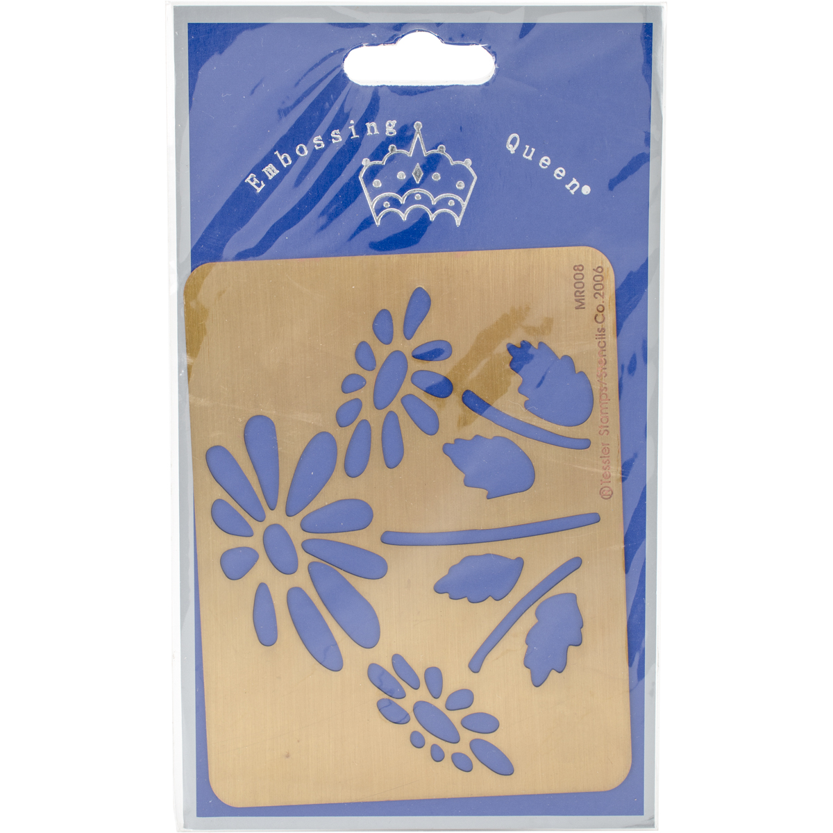 "Embossing Queen Brass Stencil 4.5""X3.5""-Flower #2"
